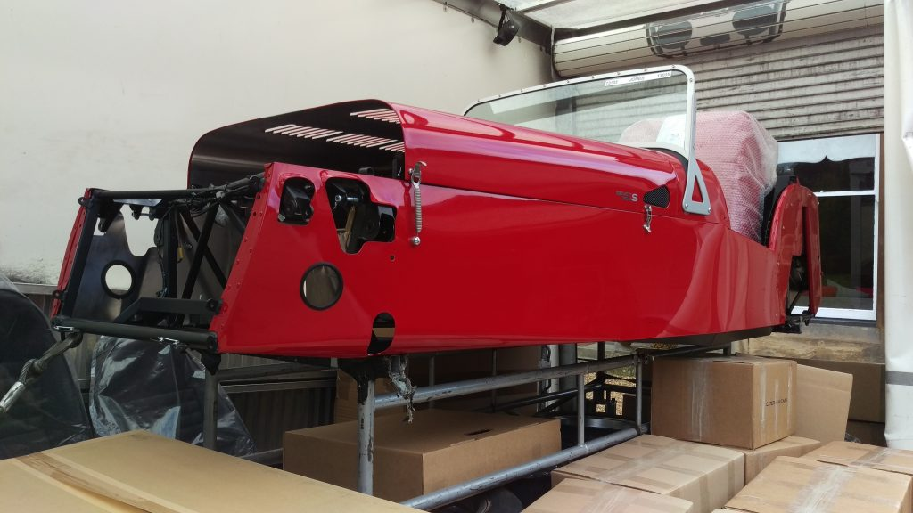 Chassis resting on transport frame