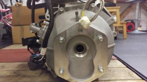 Machined face of bellhousing that will face the gearbox.